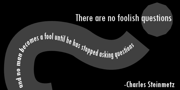 There are no foolish questions and no man becomes a fool until he has stopped asking questions