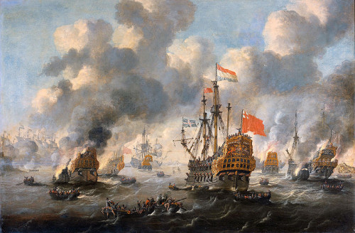 Peter van de Velde. The Dutch burn down the English fleet before Chatham, June 20, 1667.  ca. 1670